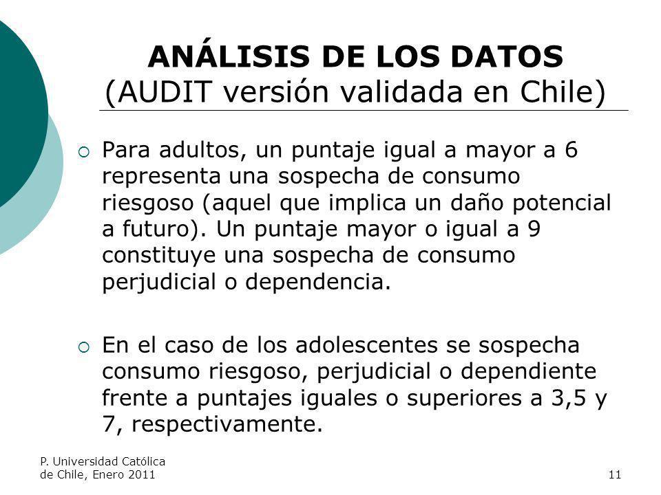 ANÁLISIS DE LOS DATOS (AUDIT versión validada en Chile) Para adultos, un puntaje igual a mayor a 6 representa una sospecha de consumo riesgoso (aquel
