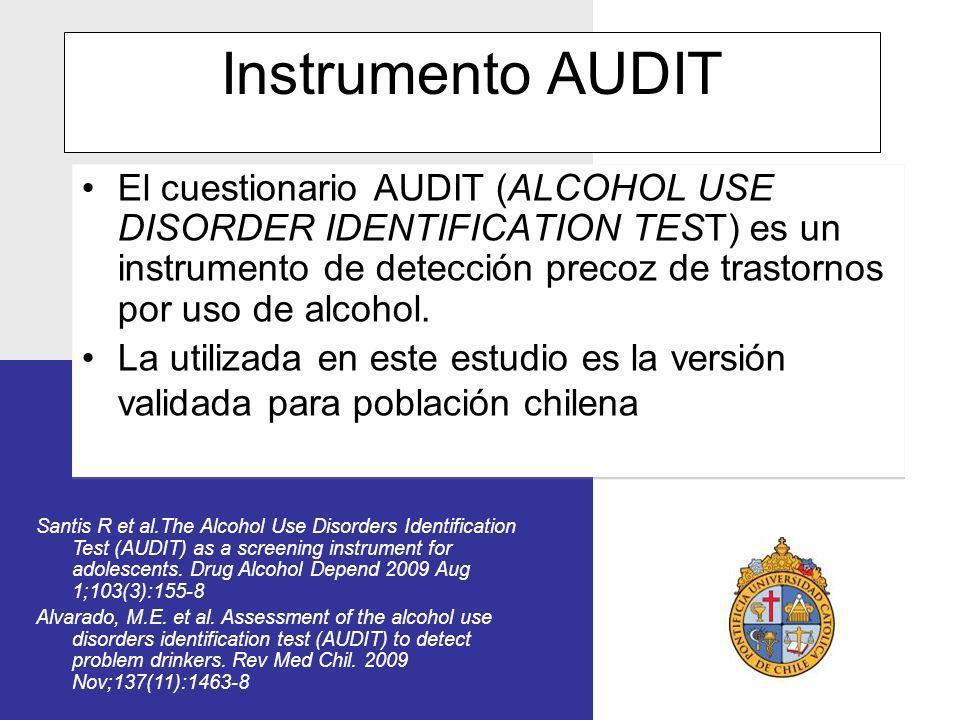 Instrumento AUDIT El cuestionario AUDIT (ALCOHOL USE DISORDER IDENTIFICATION TEST) es un instrumento de detección precoz de trastornos por uso de alco