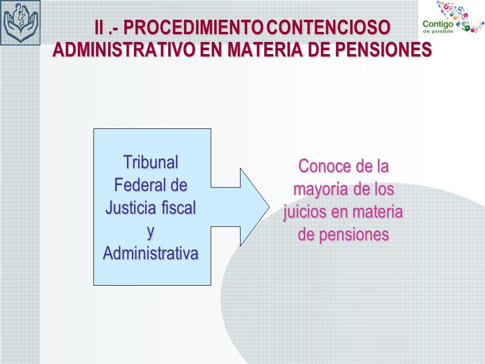 II.- PROCEDIMIENTOCONTENCIOSO ADMINISTRATIVO EN MATERIA DE PENSIONES II.- PROCEDIMIENTO CONTENCIOSO ADMINISTRATIVO EN MATERIA DE PENSIONES Conoce de l