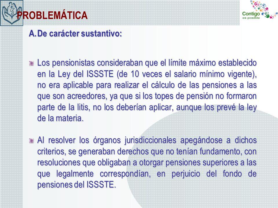 PROBLEMÁTICA A.De carácter sustantivo: Los pensionistas consideraban que el límite máximo establecido en la Ley del ISSSTE (de 10 veces el salario mín