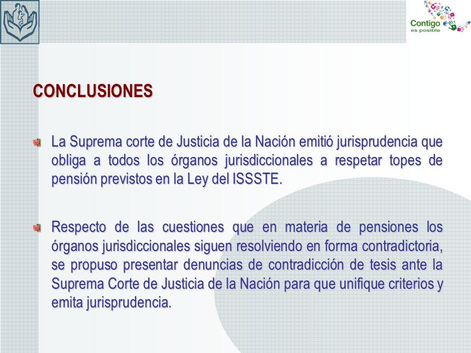 CONCLUSIONES La Suprema corte de Justicia de la Nación emitió jurisprudencia que obliga a todos los órganos jurisdiccionales a respetar topes de pensi