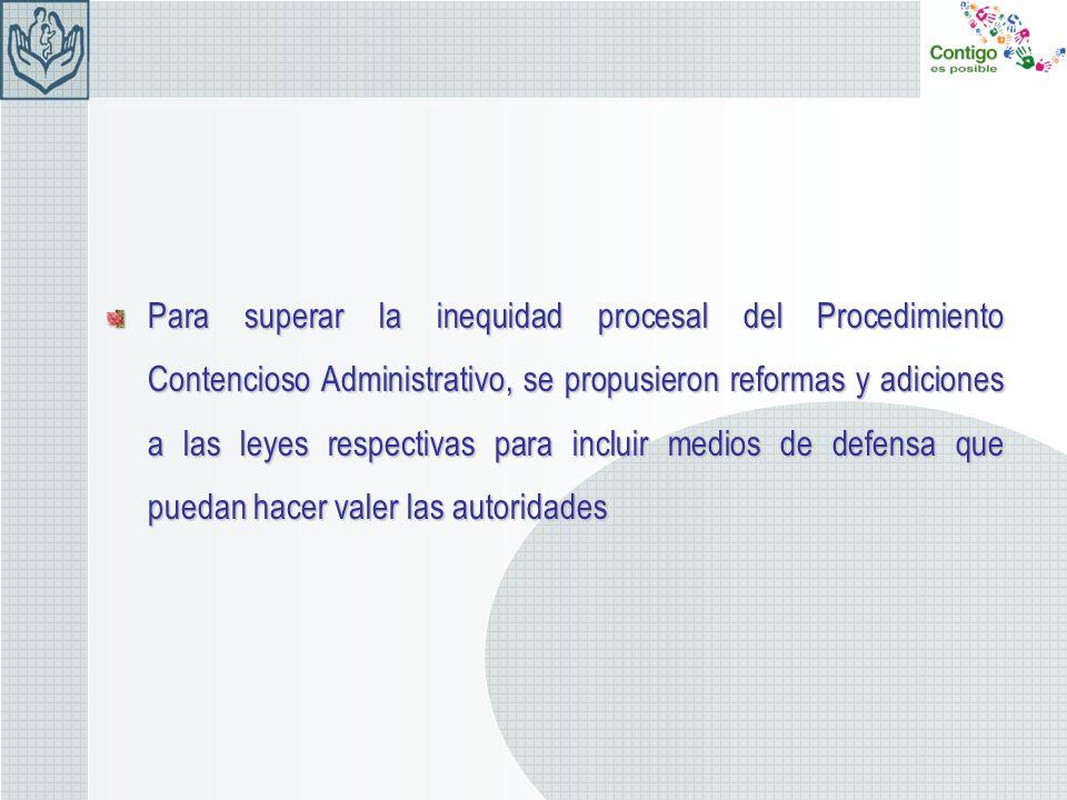 Para superar la inequidad procesal del Procedimiento Contencioso Administrativo, se propusieron reformas y adiciones a las leyes respectivas para incl