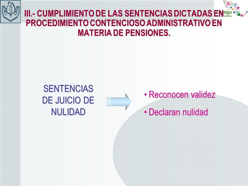 III.- CUMPLIMIENTO DE LAS SENTENCIAS DICTADAS EN PROCEDIMIENTO CONTENCIOSO ADMINISTRATIVO EN MATERIA DE PENSIONES. SENTENCIAS DE JUICIO DE NULIDAD Rec
