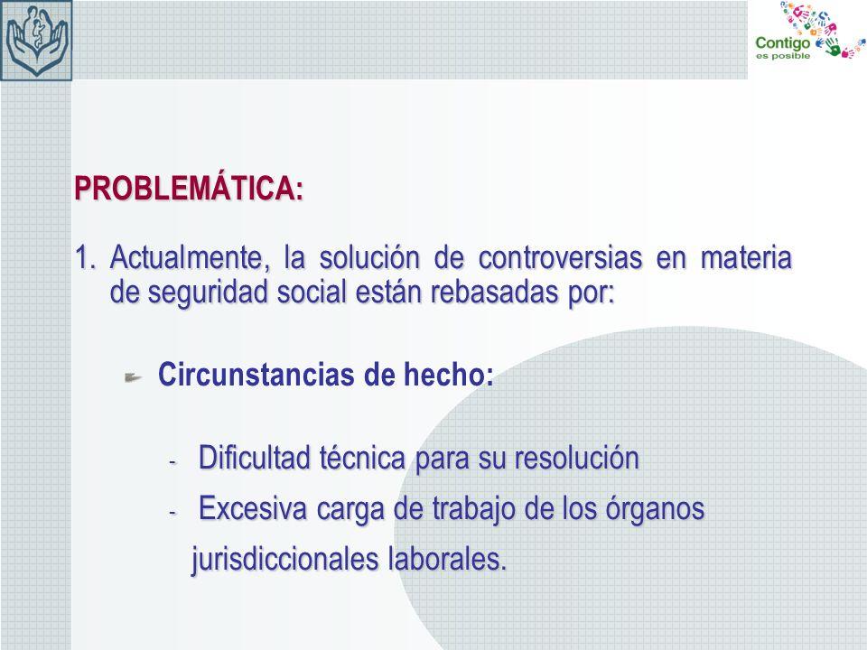 Circunstancias de derecho: - Régimen jurídico de la Seguridad Social no acorde con los factores de cambio de la sociedad.CONSECUENCIA: Las prestaciones y derechos en materia de seguridad social se otorgan de manera irregular.