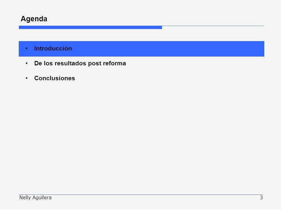 Nelly Aguilera3 Agenda Introducción De los resultados post reforma Conclusiones