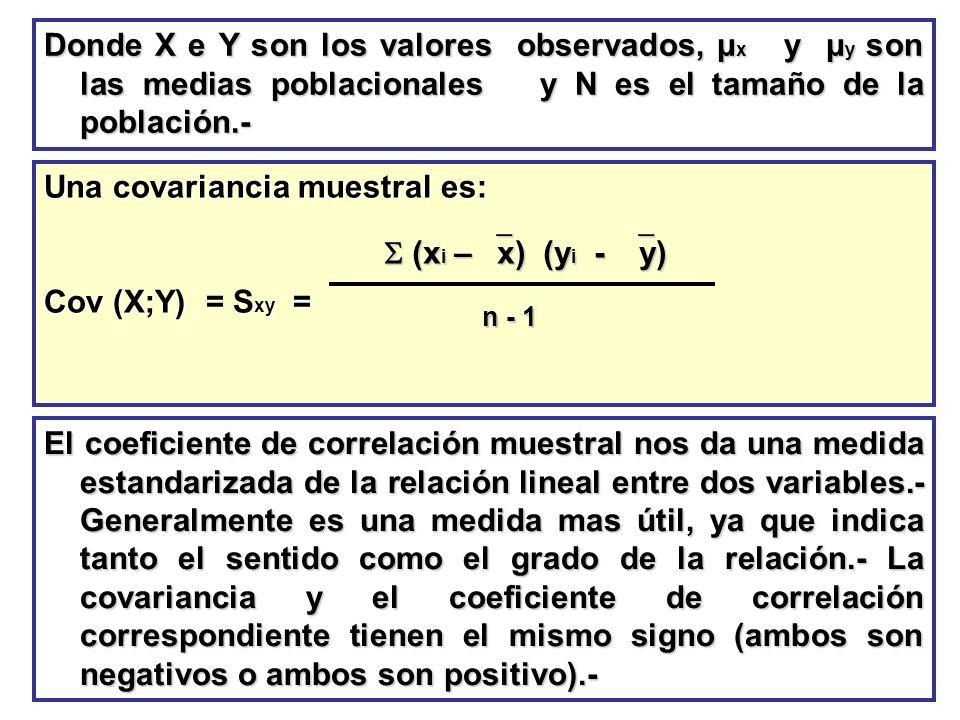 Donde X e Y son los valores observados, μ x y μ y son las medias poblacionales y N es el tamaño de la población.- Una covariancia muestral es: Cov (X;