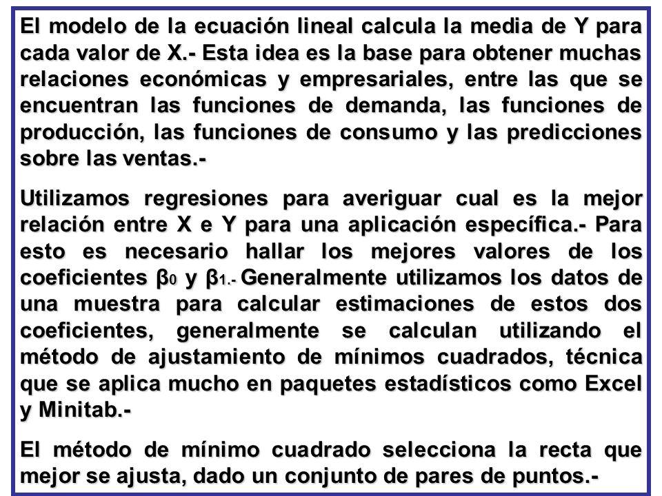 El modelo de la ecuación lineal calcula la media de Y para cada valor de X.- Esta idea es la base para obtener muchas relaciones económicas y empresar