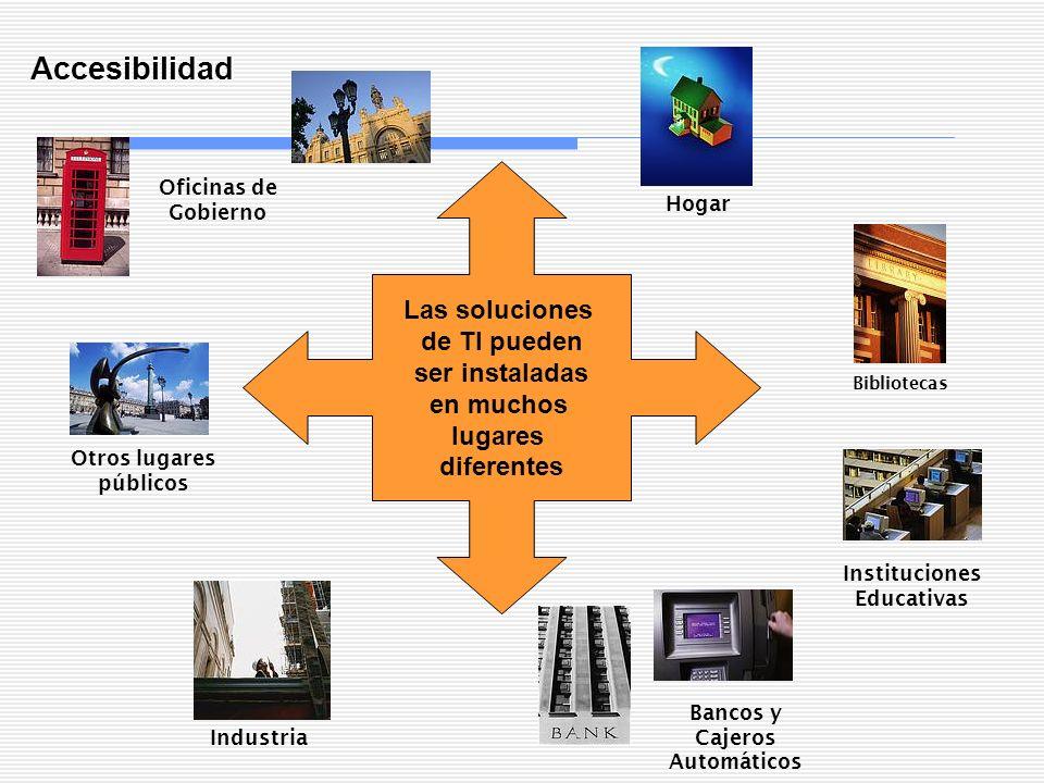 Accesibilidad Las soluciones de TI pueden ser instaladas en muchos lugares diferentes Bibliotecas Bancos y Cajeros Automáticos Oficinas de Gobierno In