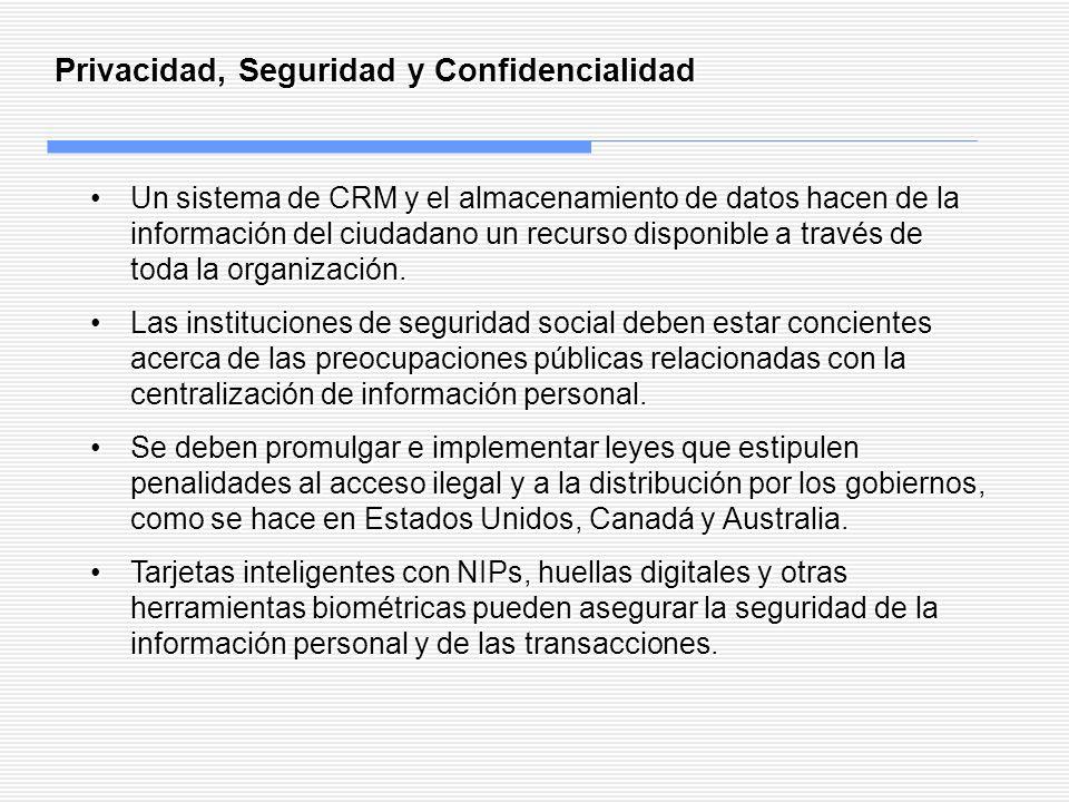 Privacidad, Seguridad y Confidencialidad Un sistema de CRM y el almacenamiento de datos hacen de la información del ciudadano un recurso disponible a