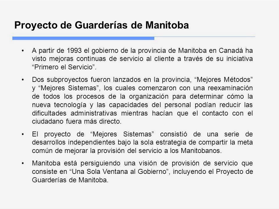 Proyecto de Guarderías de Manitoba A partir de 1993 el gobierno de la provincia de Manitoba en Canadá ha visto mejoras continuas de servicio al client