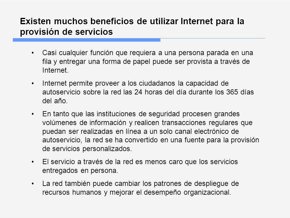 Existen muchos beneficios de utilizar Internet para la provisión de servicios Casi cualquier función que requiera a una persona parada en una fila y e
