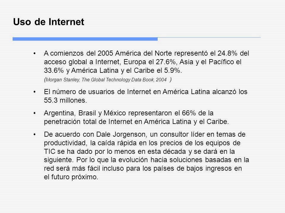 Uso de Internet A comienzos del 2005 América del Norte representó el 24.8% del acceso global a Internet, Europa el 27.6%, Asia y el Pacífico el 33.6%
