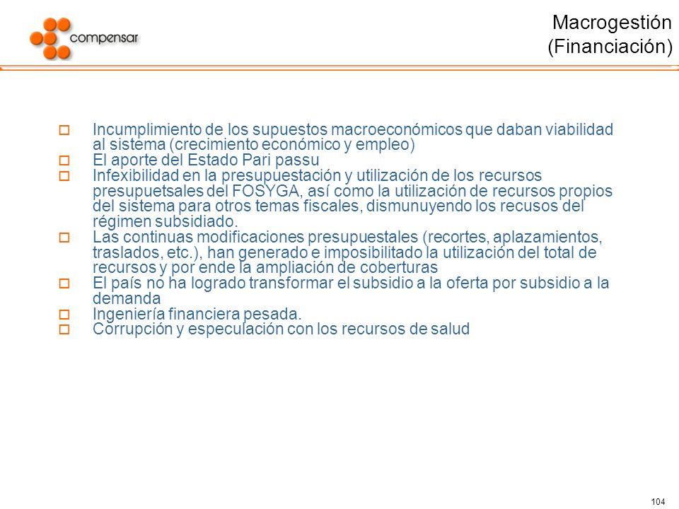 104 Macrogestión (Financiación) Incumplimiento de los supuestos macroeconómicos que daban viabilidad al sistema (crecimiento económico y empleo) El ap