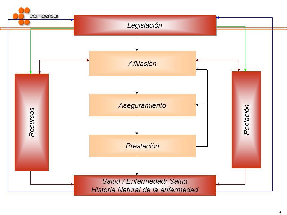 4 Legislación Recursos Afiliación Aseguramiento Prestación Población Salud / Enfermedad/ Salud Historia Natural de la enfermedad