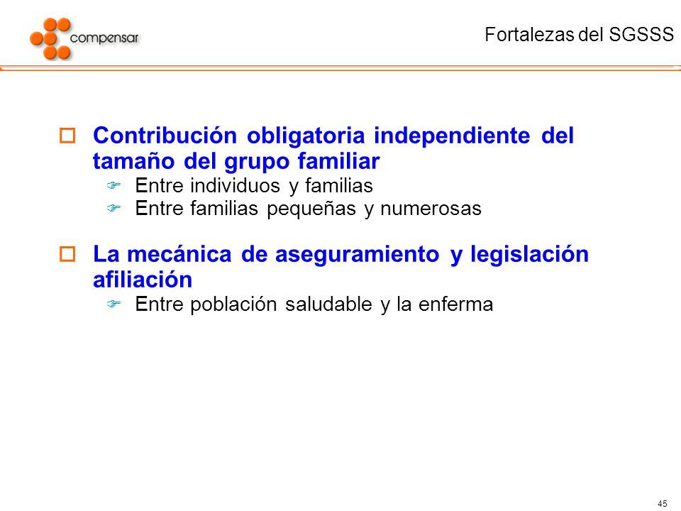 45 Fortalezas del SGSSS Contribución obligatoria independiente del tamaño del grupo familiar Entre individuos y familias Entre familias pequeñas y num