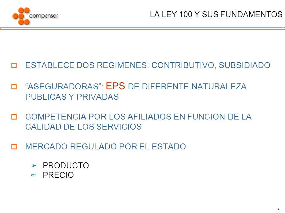 5 LA LEY 100 Y SUS FUNDAMENTOS ESTABLECE DOS REGIMENES: CONTRIBUTIVO, SUBSIDIADO ASEGURADORAS: EPS DE DIFERENTE NATURALEZA PUBLICAS Y PRIVADAS COMPETE