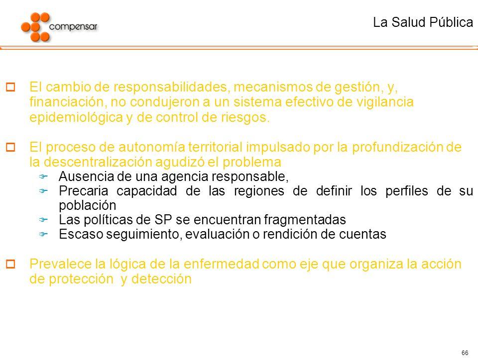 66 El cambio de responsabilidades, mecanismos de gestión, y, financiación, no condujeron a un sistema efectivo de vigilancia epidemiológica y de contr