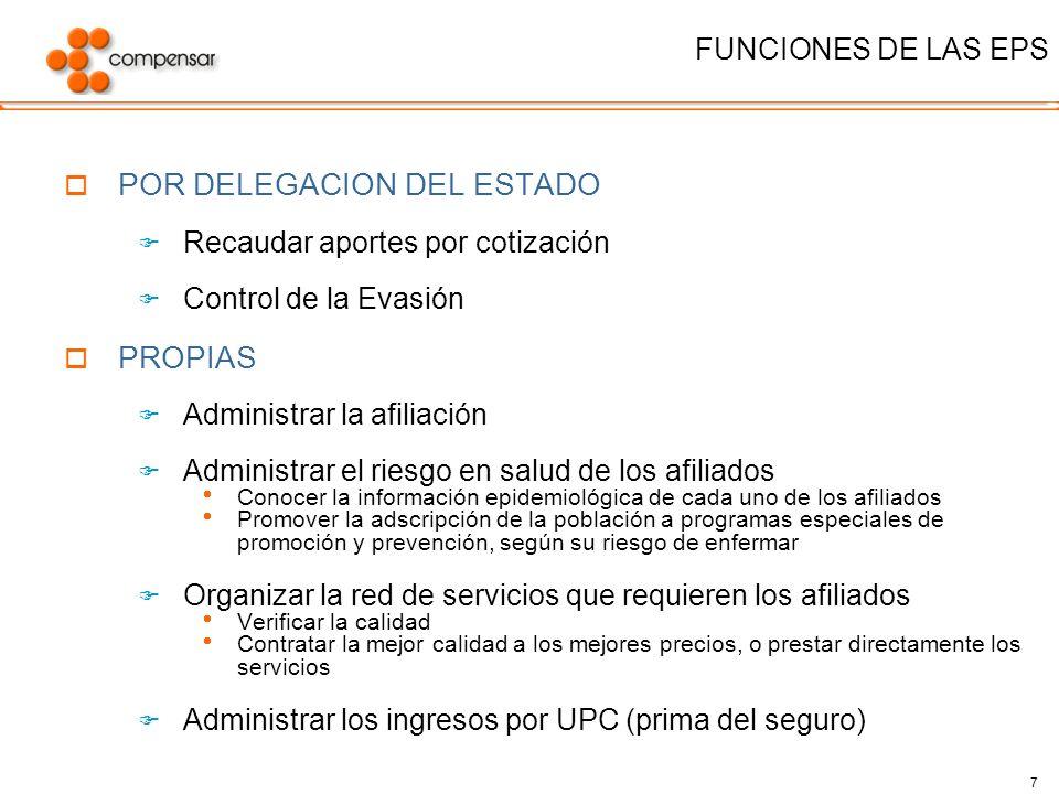 7 FUNCIONES DE LAS EPS POR DELEGACION DEL ESTADO Recaudar aportes por cotización Control de la Evasión PROPIAS Administrar la afiliación Administrar e