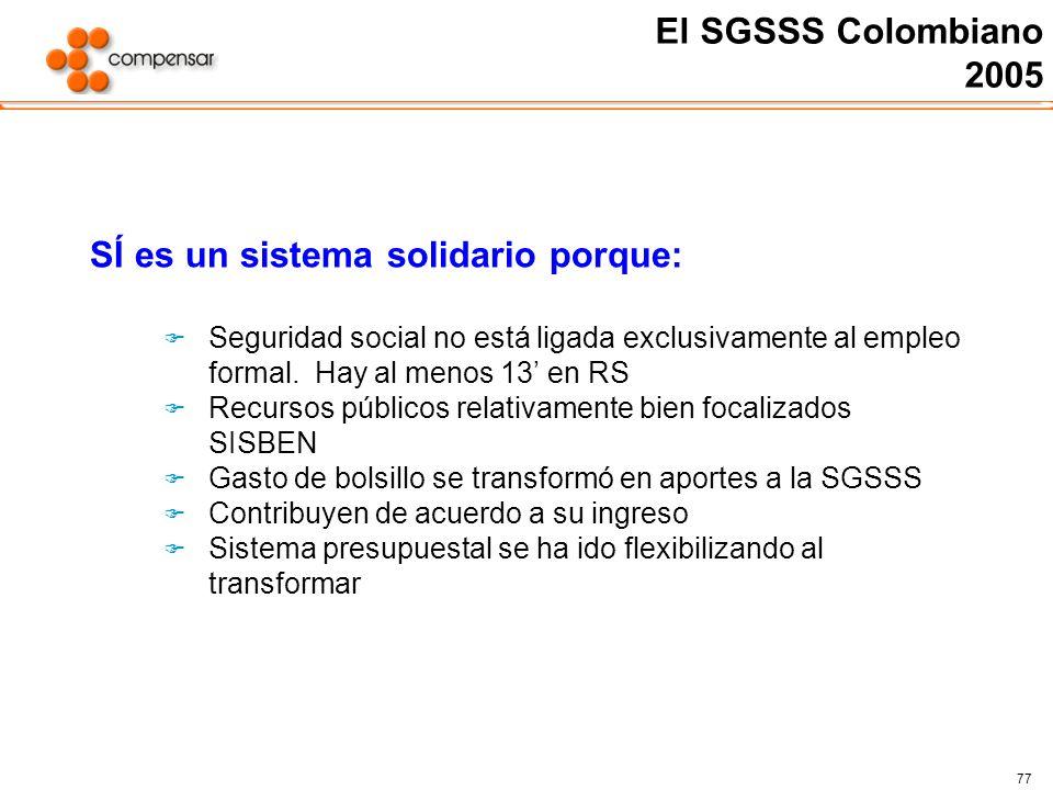 77 El SGSSS Colombiano 2005 SÍ es un sistema solidario porque: Seguridad social no está ligada exclusivamente al empleo formal. Hay al menos 13 en RS