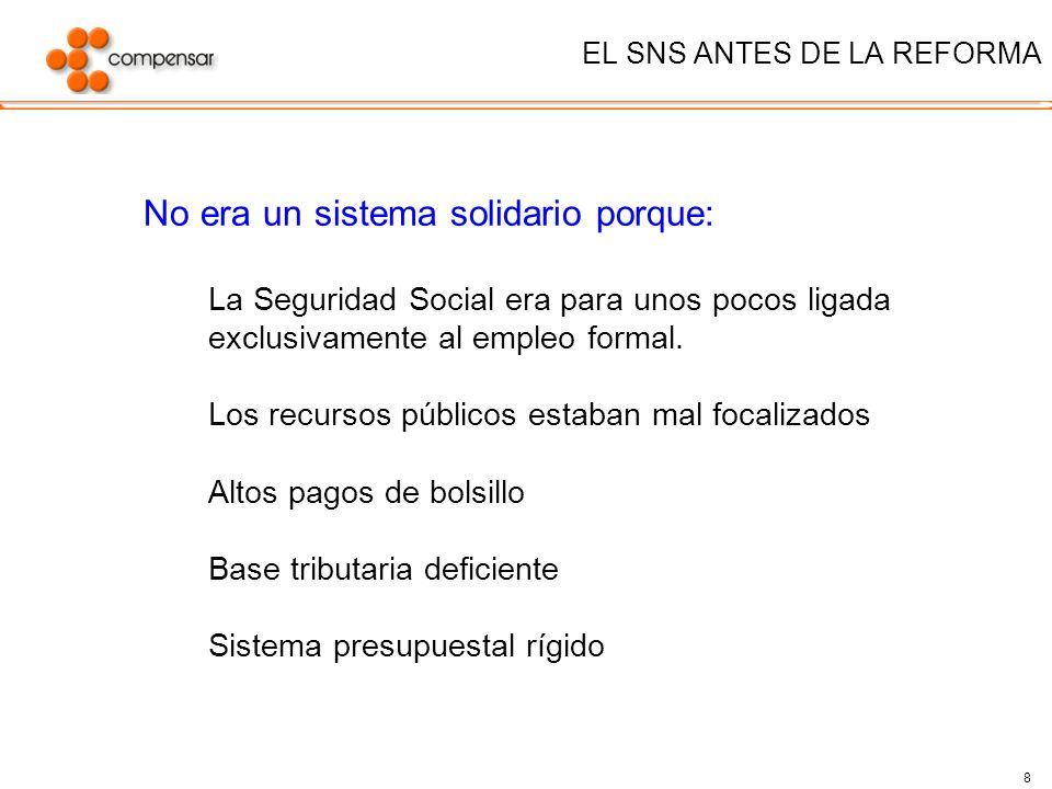 8 EL SNS ANTES DE LA REFORMA No era un sistema solidario porque: La Seguridad Social era para unos pocos ligada exclusivamente al empleo formal. Los r