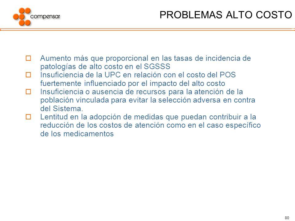 80 PROBLEMAS ALTO COSTO Aumento más que proporcional en las tasas de incidencia de patologías de alto costo en el SGSSS Insuficiencia de la UPC en rel