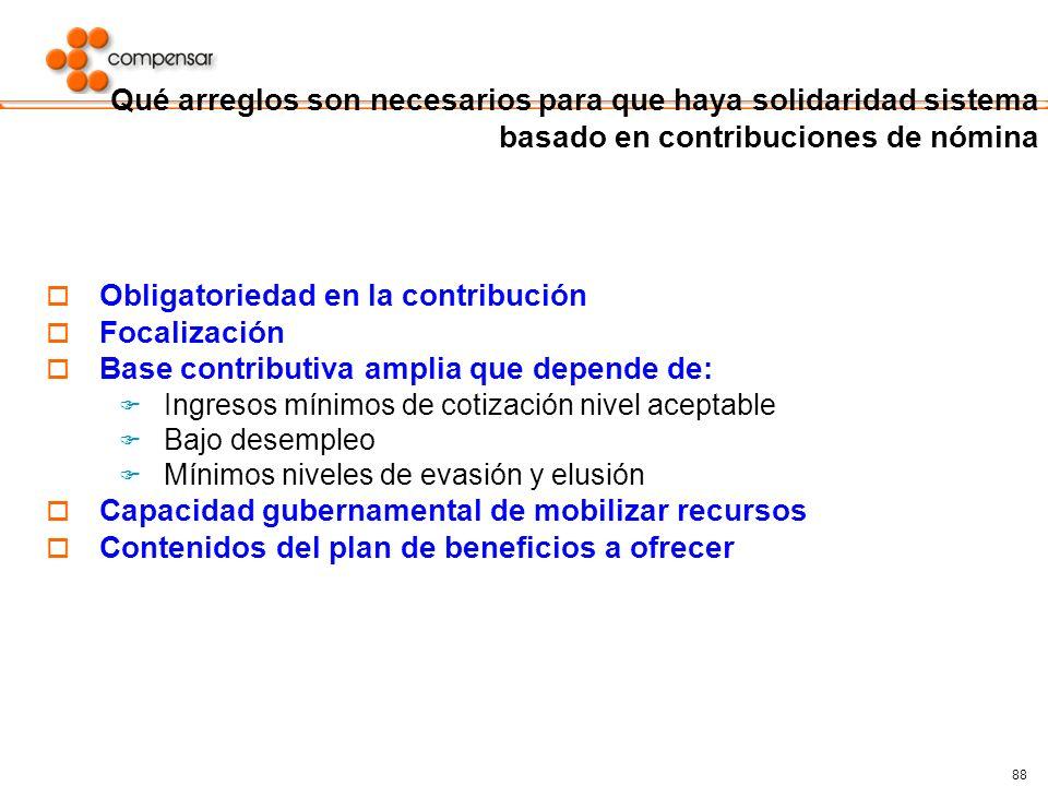 88 Qué arreglos son necesarios para que haya solidaridad sistema basado en contribuciones de nómina Obligatoriedad en la contribución Focalización Bas
