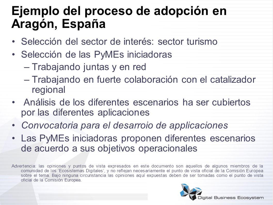 Ejemplo del proceso de adopción en Aragón, España Selección del sector de interés: sector turismo Selección de las PyMEs iniciadoras –Trabajando junta