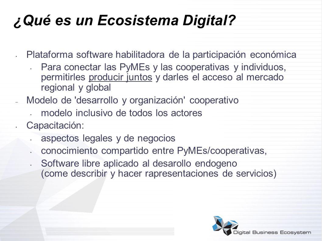 ¿Qué es un Ecosistema Digital? Plataforma software habilitadora de la participación económica Para conectar las PyMEs y las cooperativas y individuos,