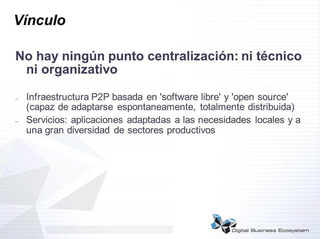 Vínculo No hay ningún punto centralización: ni técnico ni organizativo – Infraestructura P2P basada en 'software libre' y 'open source' (capaz de adap