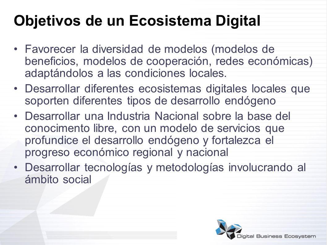 Objetivos de un Ecosistema Digital Favorecer la diversidad de modelos (modelos de beneficios, modelos de cooperación, redes económicas) adaptándolos a