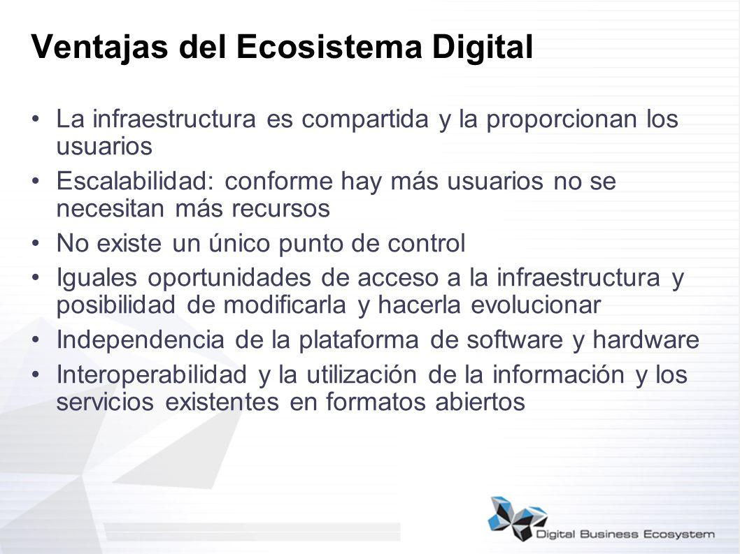 Ventajas del Ecosistema Digital La infraestructura es compartida y la proporcionan los usuarios Escalabilidad: conforme hay más usuarios no se necesit