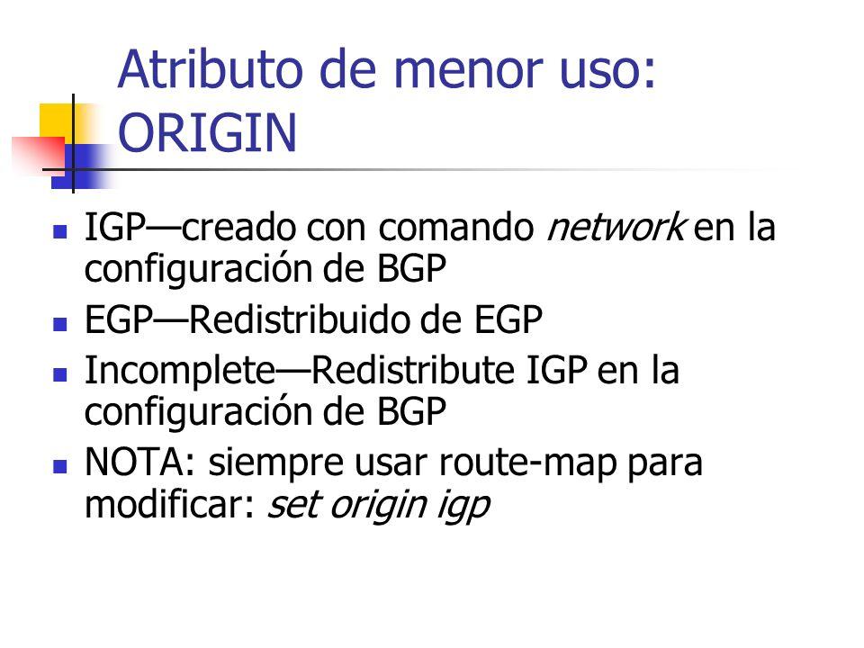 Atributos de BGP: COMMUNITY (Cont.) Cada destino puede ser miembro de varias comunidades Route-map: set community número de comunidad aa:nnnúmero de c