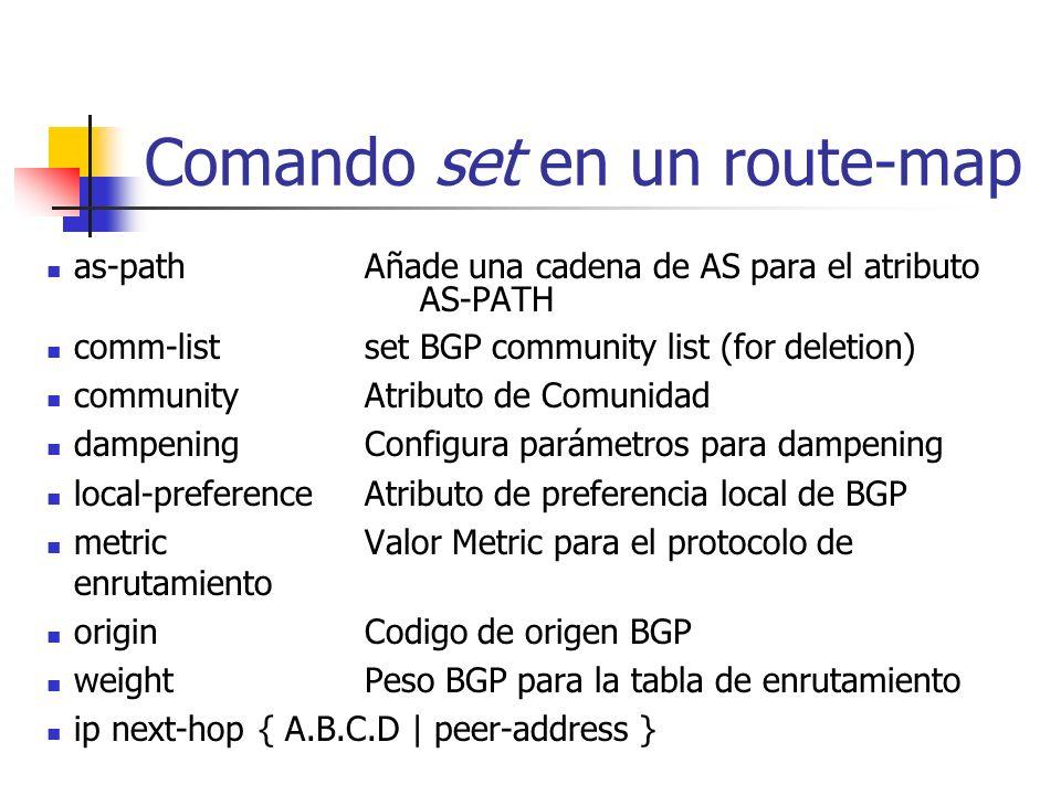 Atributo de menor uso: ORIGIN IGPcreado con comando network en la configuración de BGP EGPRedistribuido de EGP IncompleteRedistribute IGP en la config