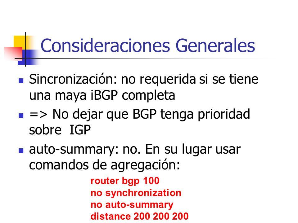 Sincronización 1880 209 690 B A Asegurarse de que los next-hops del iBGP pueden ser vistos via IGP, entonces: router bgp 1880 no synchronization Route