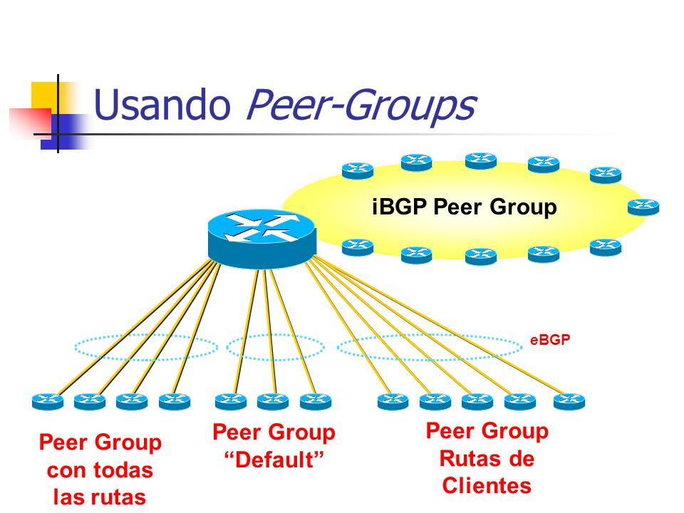 Guía Para Escalar iBGP Usar peer-group y route-reflector Solo llevar next-hop en el IGP Solo llevar todas las rutas en BGP si es necesario No redistri