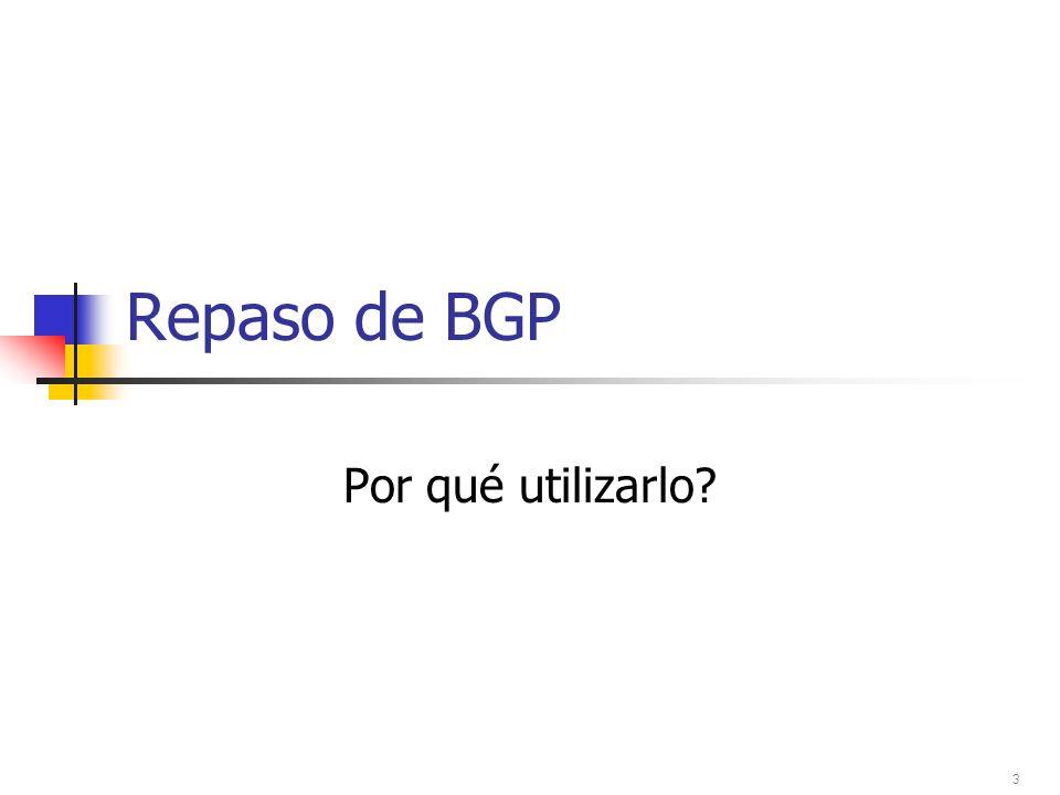 Sincronización 1880 209 690 B A Asegurarse de que los next-hops del iBGP pueden ser vistos via IGP, entonces: router bgp 1880 no synchronization Router A no anunciará los prefijos de AS209 hasta que haya convergencia en el IGP.