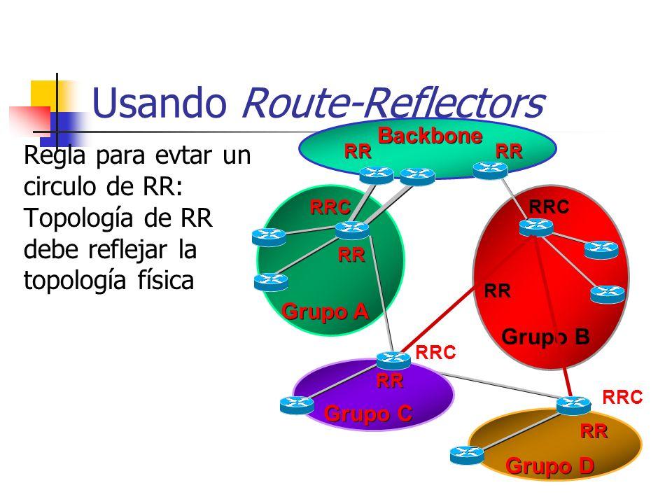 n=1000 => casi medio millón de sesiones iBGP! Por qué usar Route- Reflectors? Para evitar una maya con N(n-1)/2 sesiones 13 Routers => 78 Sesiones iBG