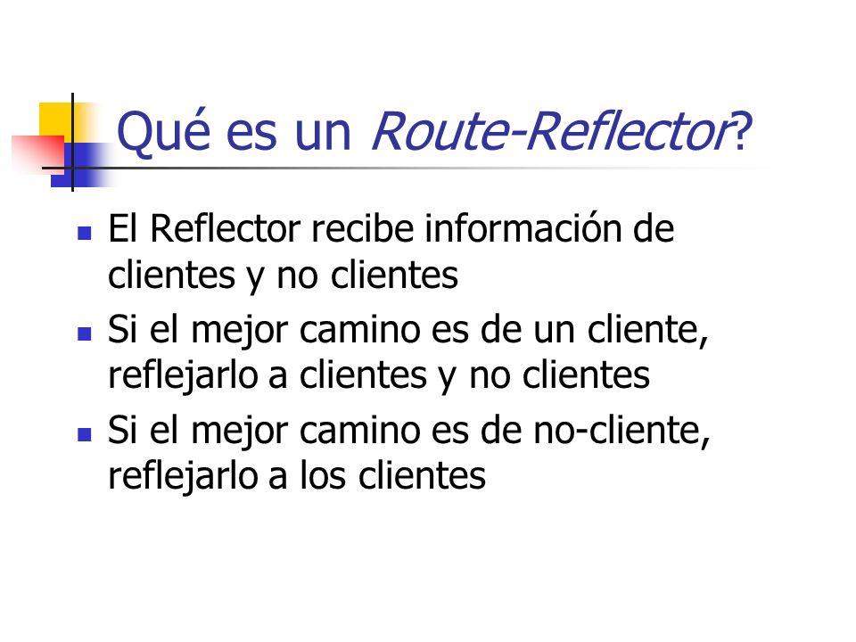 Usando Route-Reflectors Regla para evtar un circulo de RR: Topología de RR debe reflejar la topología física Backbone RR RRC Grupo A RR RRC Grupo B RR