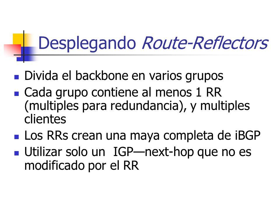 Qué es un Route-Reflector? El Reflector recibe información de clientes y no clientes Si el mejor camino es de un cliente, reflejarlo a clientes y no c