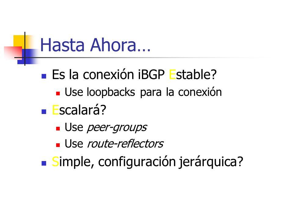 Atributos de BGP: CLUSTER_LIST CLUSTER_LIST Cadena de ORIGINATOR_IDs a través de los cuales la ruta ha pasado De uso para resolver problemas y chequea