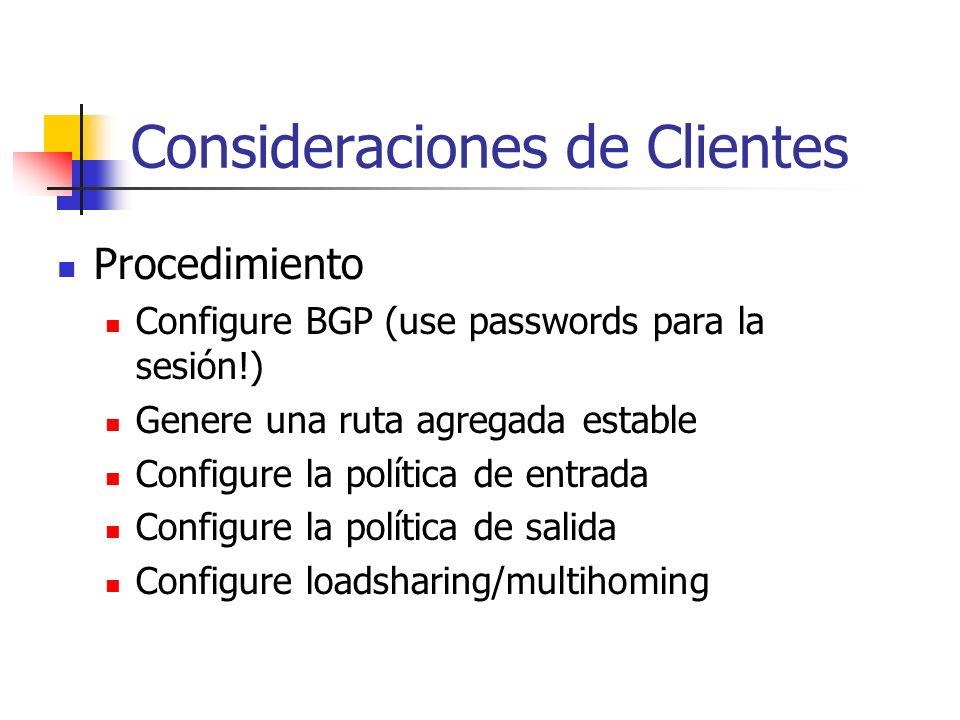 39 Desplegando eBGP Consideraciones de Clientes Consideraciones de ISPs