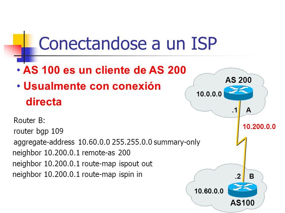 Consideraciones de Clientes Procedimiento Configure BGP (use passwords para la sesión!) Genere una ruta agregada estable Configure la política de entr