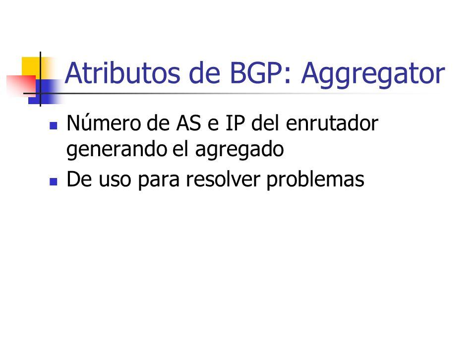 Atributos de BGP: Atomic Aggregate Indica perdida de información de AS-PATH No debe ser removido una vez configurado Configuración: aggregate-address