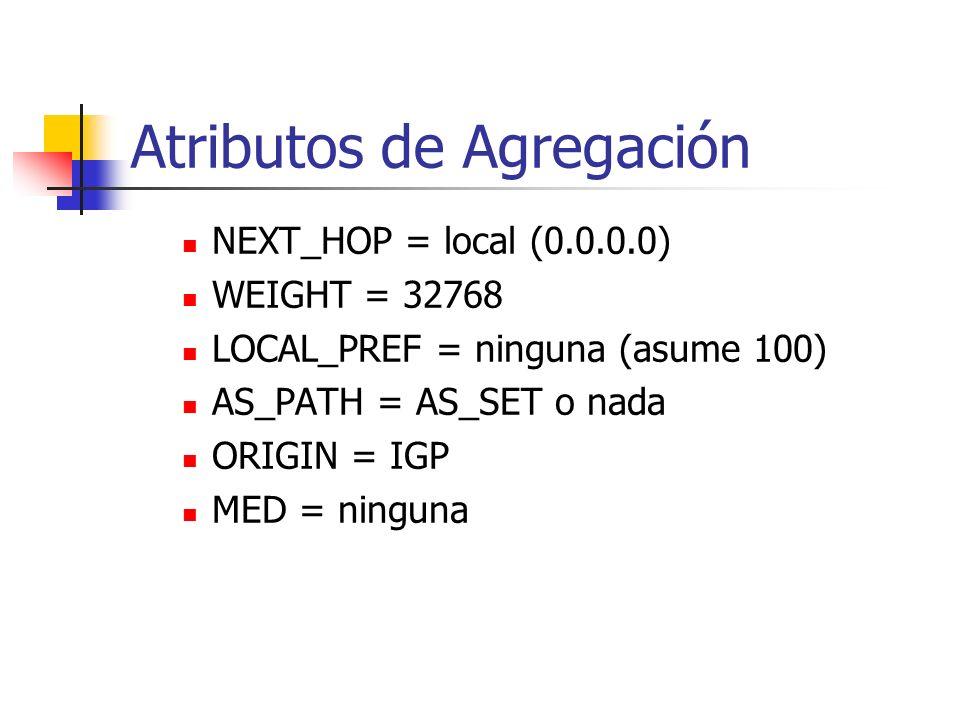 Atributos de BGP: Aggregator Número de AS e IP del enrutador generando el agregado De uso para resolver problemas