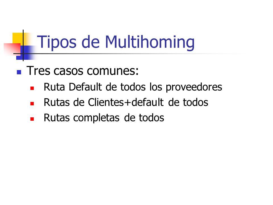 Qué es Multihoming? Conectarse a dos o más ISPs para incrementar: Confiabilidadsi un ISP falla, todavía funciona Desempeñomejores caminos a destinos c