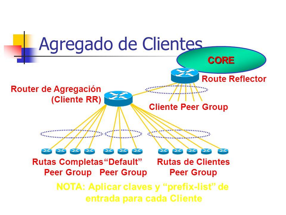 Guías para el Agregado de Clientes Definir por los menos tres peer-groups: cliente-default envía solo default cliente-cliente envía solo las rutas de