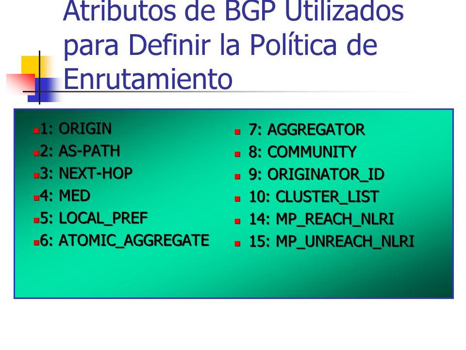 Atributos de BGP Utilizados para Definir la Política de Enrutamiento 1: ORIGIN 2: AS-PATH 3: NEXT-HOP 4: MED 5: LOCAL_PREF 6: ATOMIC_AGGREGATE 1: ORIGIN 2: AS-PATH 3: NEXT-HOP 4: MED 5: LOCAL_PREF 6: ATOMIC_AGGREGATE 7: AGGREGATOR 8: COMMUNITY 9: ORIGINATOR_ID 10: CLUSTER_LIST 14: MP_REACH_NLRI 15: MP_UNREACH_NLRI 7: AGGREGATOR 8: COMMUNITY 9: ORIGINATOR_ID 10: CLUSTER_LIST 14: MP_REACH_NLRI 15: MP_UNREACH_NLRI