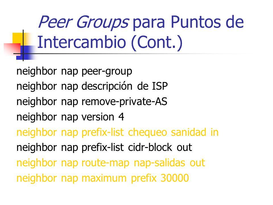 Peer Groups para Puntos de Intercambio Similar al EBGP para agregado de clientes excepto que no se usa el filtrado de prefijos (porque no hay un regis