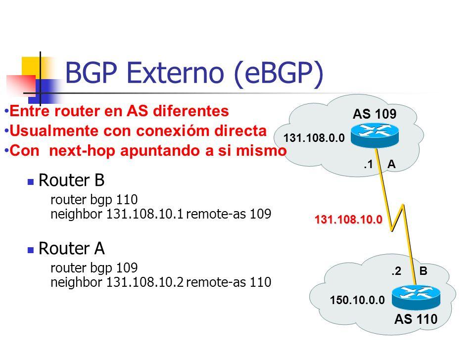 BGP Externo (eBGP) AS 109 AS 110 131.108.0.0 A B 150.10.0.0 131.108.10.0.1.2 Router B router bgp 110 neighbor 131.108.10.1 remote-as 109 Router A router bgp 109 neighbor 131.108.10.2 remote-as 110 Entre router en AS diferentes Usualmente con conexióm directa Con next-hop apuntando a si mismo