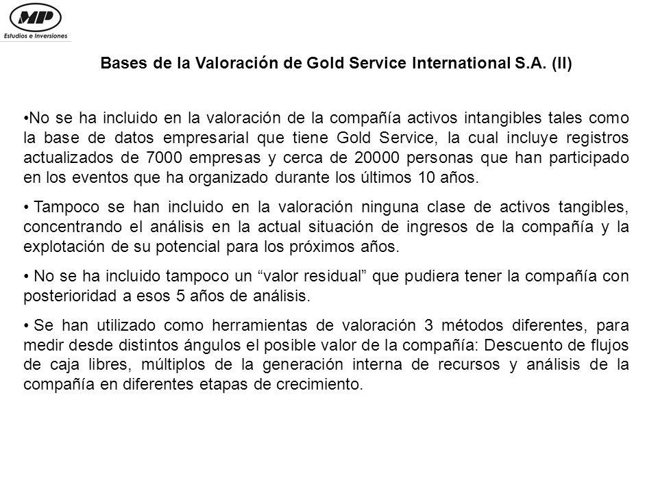 Descuento de Flujos de Dividendos 2005-2009 Gold Service International S.A.